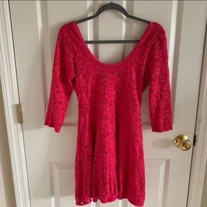 Free People Pink Lace Long Sleeve Dress Size SP